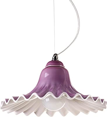 Ilide LisaColor Lampadario Colorato da Soffitto Ceramica Ondulata per Cucina o Cameretta Sospensione Stile Vintage, E27, 100 W, Viola, 33 x 18 cm