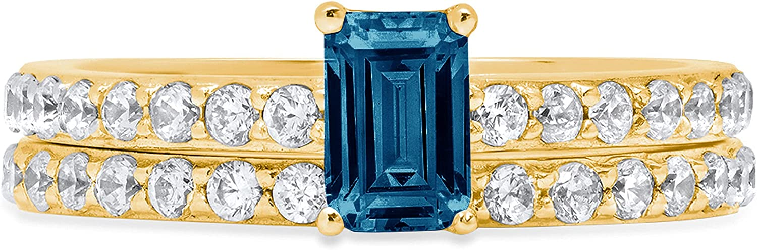 Clara Pucci 1.41ct Emerald Round Cut Pave Solitaire Accent Genuine Flawless Natural London Blue Topaz Engagement Promise Statement Anniversary Bridal Wedding Ring Band set Solid 18K Yellow Gold
