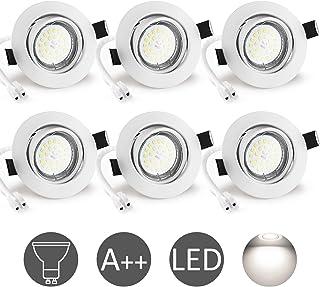Foco Empotrable GU10 Blanco, Wowatt 6x Luz de Techo Interior GU10 LED Blanco Frio 6000K 6W Equivalente Halogeno 50W Incluye 220V Bombilla GU10 600LM 83Ra Ojos de Buey Marco Redondo Ángulo Rotable 40°