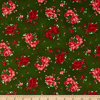 Maywood Studio Chloe Geranium Sprigs Fabric, Deep Green, Fabric By The Yard