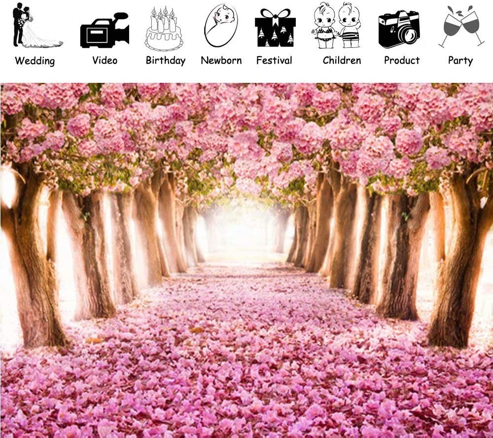 Muzi Floral Wall Photography Backdrops Pink Flowers Woods Cherry Street Background Baby Shower Birthday Party Wedding Photo Booth Banner Studio Props 10x10ft D-1647