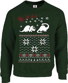 Graphic Impact Christmas Two Dinosaur Ugly Long Sleeve Jumper Funny Printed Sweatshirt
