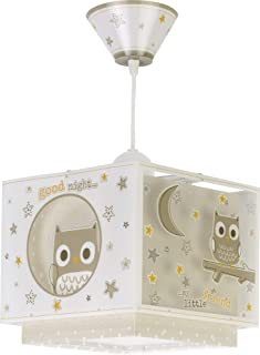 Dalber Lámpara Infantil de techo Good Night Búhos Beige animales, 60 W