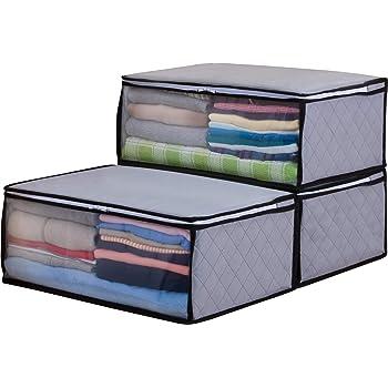 アストロ 収納ボックス 衣類用 3個 グレー 不織布 活性炭消臭 171-01