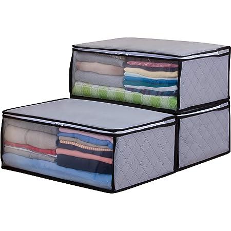 アストロ 収納ケース 衣類用 3個組 グレー 不織布 活性炭 消臭 171-01