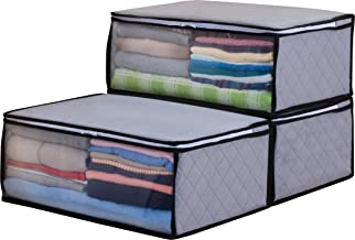 1Storage Charcoal Fiber Clothing Organizer Bags, Breathable Material, 3pcs, Grey 171-01A