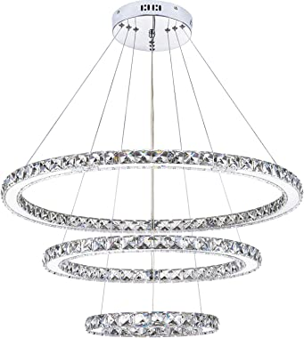 KROSON Crystal Chandelier Modern Led Chandelier Dining Room and Bedroom Chandelier Foyer Lighting Adjustable Ceiling Pendant Lighting Cool White 3 Rings Chandeliers