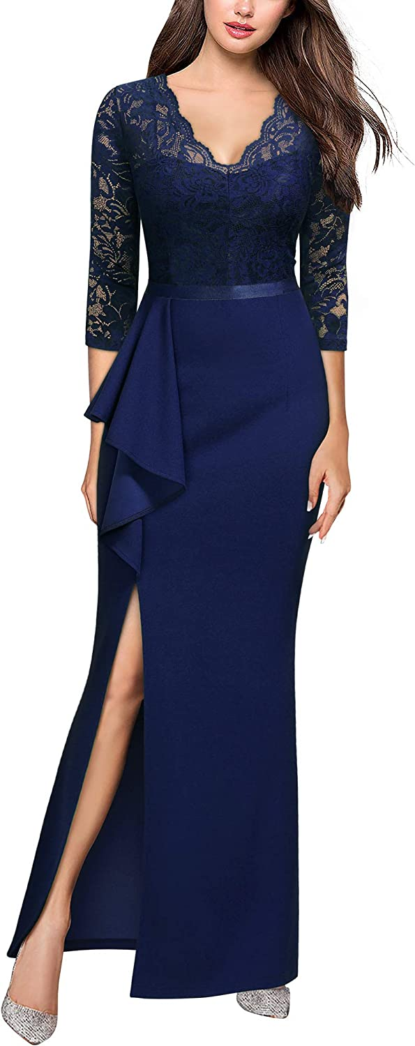 MISSMAY Women's Vintage Floral Lace Ruffle Half Sleeve Evening Party Formal Long Dress