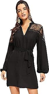 Women's Casual V Neck Long Sleeve Mesh Insert Belted Shirt Dress
