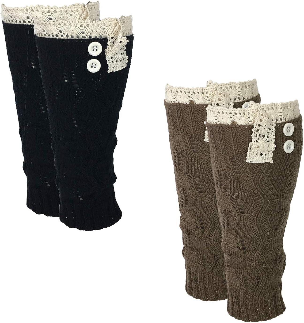 Fashion Culture Women's Crochet Lace Trim Leg Warmers Boot Toppers Set of 2, Black Mocha