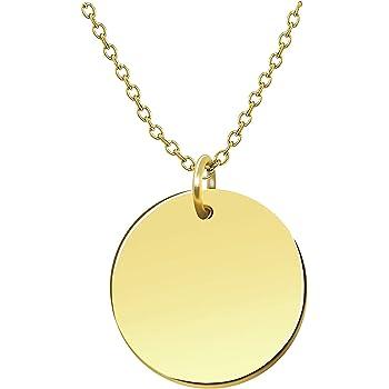 Premium Damen Kette mit Plättchen - JE T'AIME mit 18k Gold vergoldet, Frauen Halskette mit rundem Anhänger, Plättchenkette, Goldkette, Ausgefallenes Geschenk für sie | inklusive GRATIS Geschenk!
