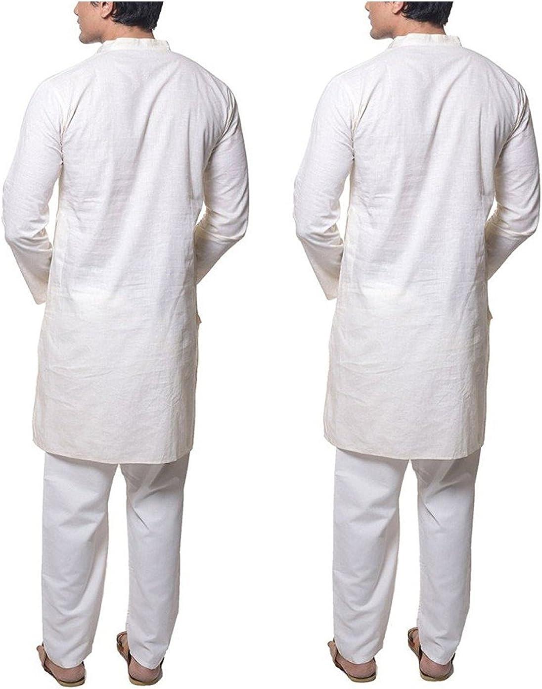 Royal Men's White Active Wear Pure Cotton Kurta Pyjama Set of 2