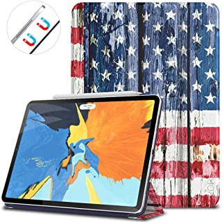VORI Case for iPad Pro 11 Inch 2018, Strong Magnetic Trifold Stand Cover with Auto Sleep/Wake, Folio Smart Case for iPad Pro 11 2018, American Flag
