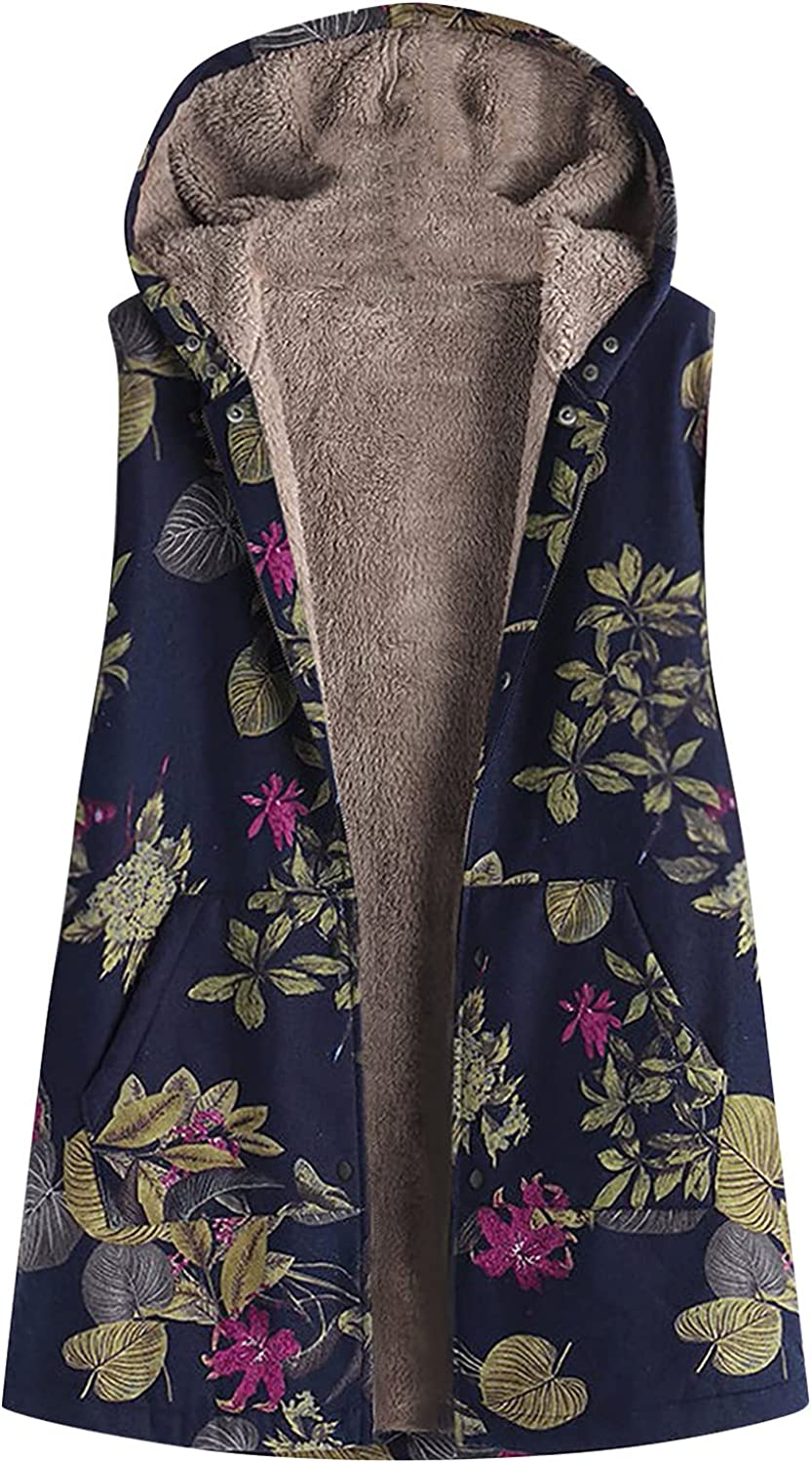 Women Outwear Vest Sleeveless Hoodie Floral Print Tops Fashion Winter Loose Blouse Pullover(XXL,Pink)