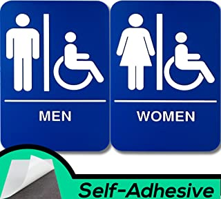 ADA Mens and Womens Restroom Braille 9 in x 6 in Signs With Braille Lettering By Retail Genius. Durable Plastic Placards Display Bathroom Location and Gender. Self-Adhesive Backing For Easy Install
