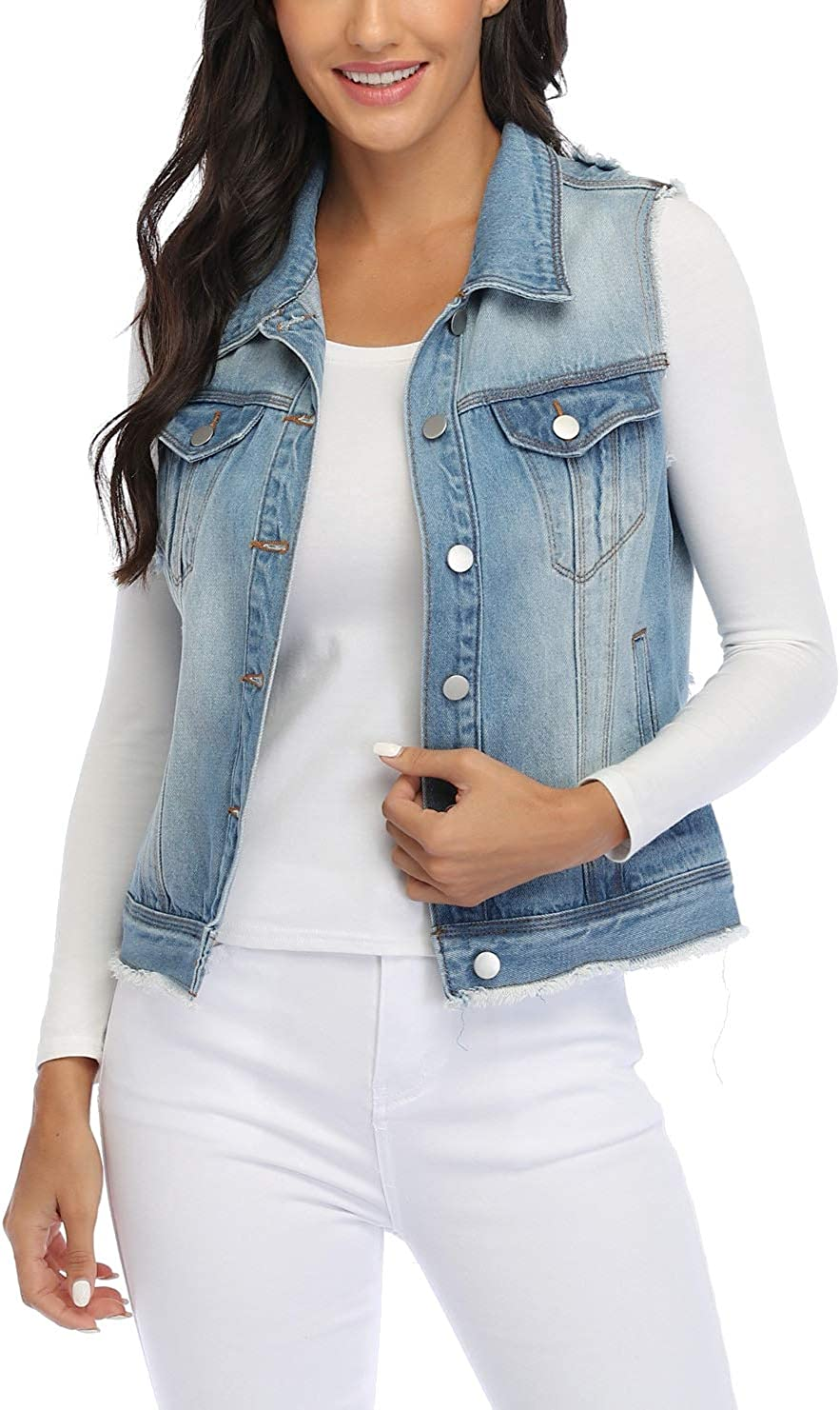 MISS MOLY Women's Sleeveless Cotton Denim Vest Classic Washed Button Up Casual Jean Jacket w 2 Flap Pockets