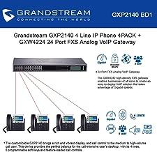 Grandstream GXP2140 Enterprise 4 Line IP Phone Dual Gigabit Ports Integrated PoE 4-Units + GXW4224 24 Port FXS Analog VoIP Gateway