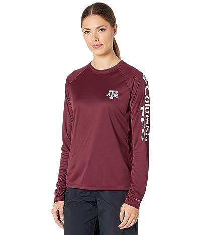 Columbia College Texas AM Aggies Collegiate Tidal Long Sleeve Shirt (Deep Maroon/White) Women