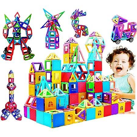 infinitoo Blocs Construction Magnétiques | 146 Pièces Mini Jeux de Construction Magnetique Colorée 3ère-Version | Idéal Cadeau pour Bébé à Partir de 3 Ans (146pcs)