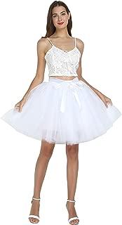 Women's High Waist Princess Tulle Skirt Adult A-line Dance Tutu Wedding Short Party Prom Skirt