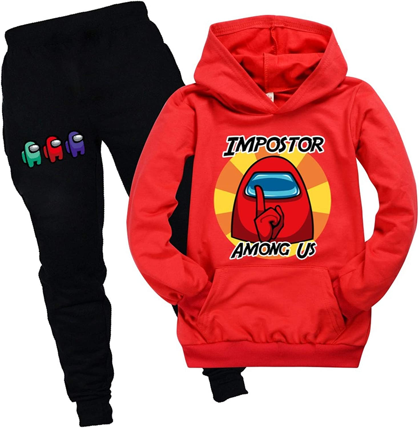 Among-Us-Impostor Kids Hoodie Sweater and Sweatpants Tracksuit Sets for Boys Girls Casual 2 Piece Sweatshirt Suit lovty