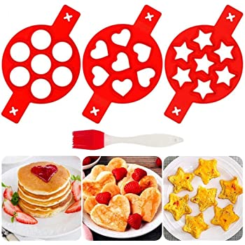 Romote Pancake Mould Ring Pancake Mould for Frying Pan Silicone Non Stick Egg Mold Silicone Pancake Maker and Flipper for Kitchen Random Color 7 Holes