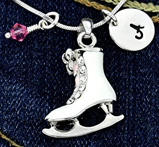 Figure Ice Skate Personalized Necklace White Pendant Hand Stamped Initial Letter Charm Sparkling Crystals Birthstone Charm Chain Custom Gift