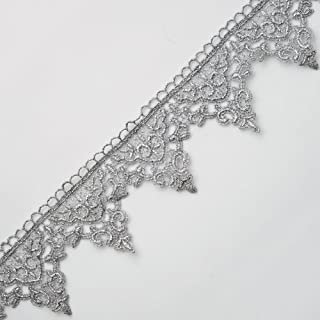 "2-Yards 2-1/4"" Metallic Lace Trim for Bridal, Costume or Jewelry, Crafts and Sewing, LP-MX-4284 (Silver)"