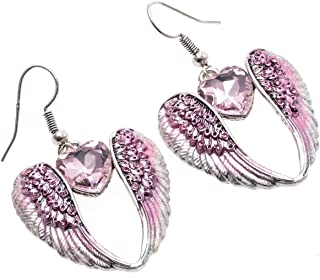 Szxc Jewelry Women's Crystal Guardian Angel Wings Dangle Earrings Christmas Biker Jewelry