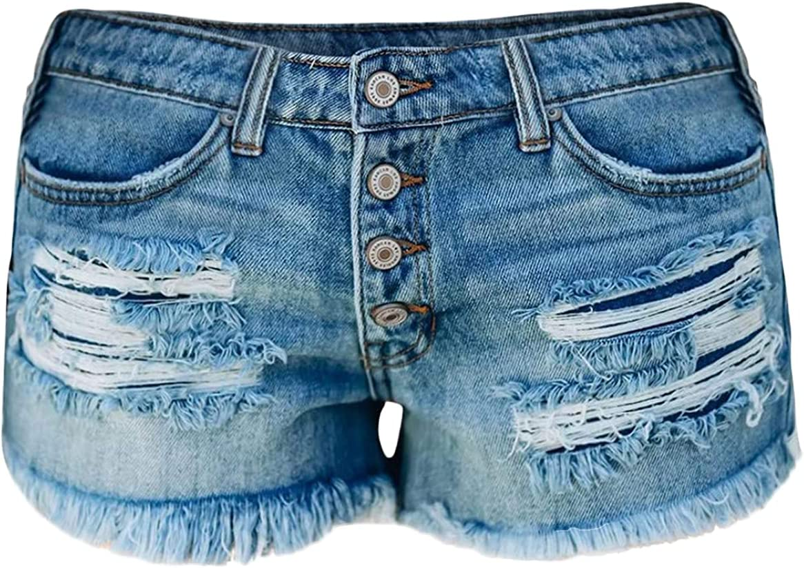 Womens Fringe Raw Hem Ripped Hole Denim Short Casual Trend Fashion Jeans Shorts High Waist Button Slim Jean Short-Pant (Blue,Large)