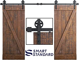 SMARTSTANDARD 10FT Double Gate Heavy Duty Sturdy Sliding Barn Door Hardware Kit, Two-Piece Rail, Black, Smoothly and Quietly, Easy to Install