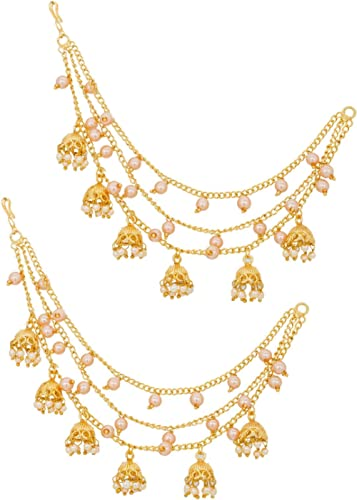 The Luxor Gold Plated Long Chain Jhumki Hair Chain Accessories for Earrings for Women (ACC6138)