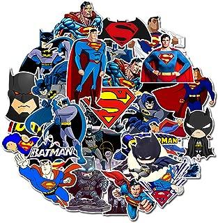 Superman Batman Laptop Stickers Vinyl - 35 Pack DC Comic Cartoon Decals for Water Bottle Skateboard Phone Case Car Bike Bumper Luggage Helmet Bomb Waterproof No Repeat