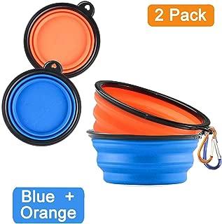Homesun 2-Pack Large Collapsible Dog Bowl Pet Food Water Bowl Portable Dog Travel Bowls for Dog Cat Feeding Pet Outdoor Walking Travelling (Blue+Orange)