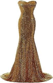 Women's Sequins Mermaid Strapless Sweetheart Neck Long Evening Dress