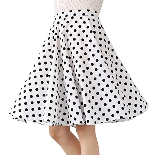 0b2d8196e Women's 100% Cotton Polka Dot Floral 50s Inspired Vintage Rockabilly Full  Circle Skirt