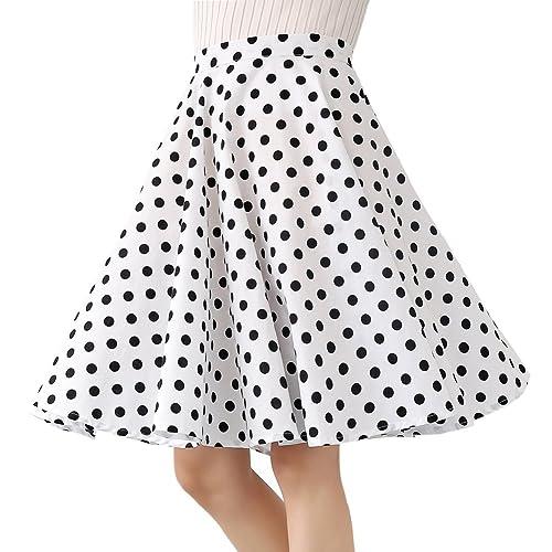 13ee50df7b907 Women's 100% Cotton Polka Dot Floral 50s Inspired Vintage Rockabilly Full  Circle Skirt