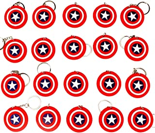 Melleco 20pcs Keychain Key Tags Superhero Goodie Bag Stuffer Christmas Gift Holiday Charms for Kids Birthday Party Favors School Carnival Reward Prizes Cartoon Decoration Collectible (A Type)