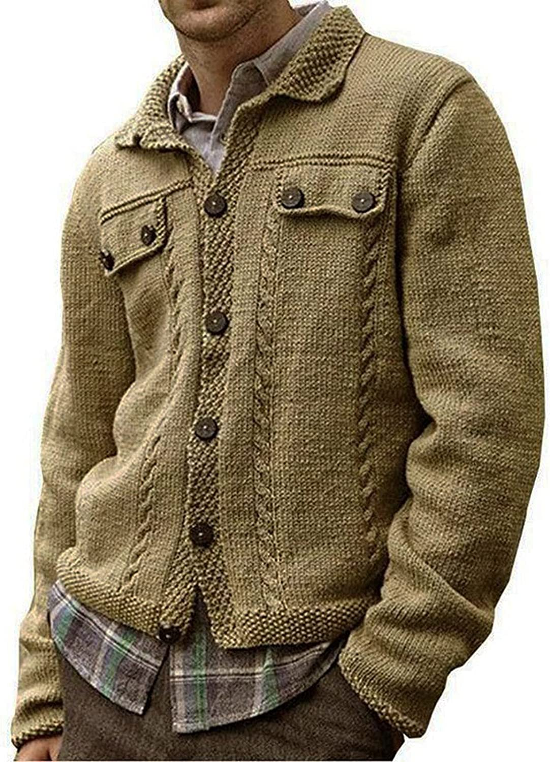 Denver Mall Men's Cardigan Sweaters Solid Color Be super welcome Crew Coat Long Neck L Sleeve