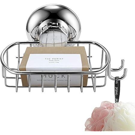 MaxHold ソープホルダー フック付くソープディッシュ 吸盤式 ステンレス 錆び防止 石鹸置き 石鹸ホルダー