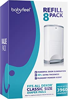 Sponsored Ad - Diaper Pail Refills for Dekor Classic   8 Pack   Value Pack   Exclusive 30% Extra Thickness   Powder Scent ...