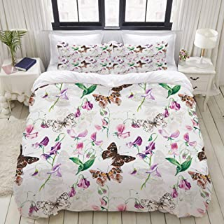"""Mokale Bedding Duvet Cover 3 Piece Set - Butterfly and Flowers Pattern - Decorative Hotel Dorm Comforter Cover with 2 Pollow Shams - King 104""""x90"""""""