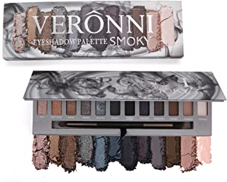 VERONNI Eye Makeup Marble Eyeshadow Palette 6 Glitter 6 Matte 12 colors High Pigment Shimmer Warm Eye Shadow Palette (Smoky)