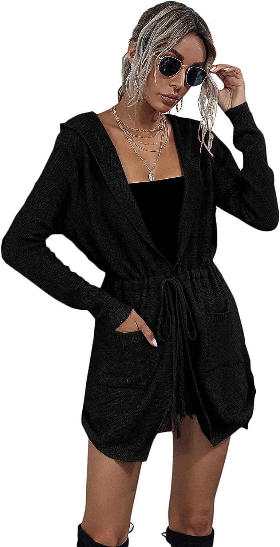 MakeMeChic Women's Long Sleeve Drawstring Waist Hooded Cardigan Outerwear