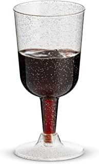 50 Silver Glitter Disposable Wine Glasses   7 oz. Clear Hard Plastic Fancy Cups (50-Pack) by BloominGoods