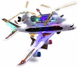 2-in-1 Kids Airplane & Helicopter Toy Bump & Go Action Airplane Toy A330 Airliner Airbus w/ Attached Rescue Helicopter , Flashing 4D Lights & Jet Engine Sounds   Take-A-Part Airplane Toy For Kids