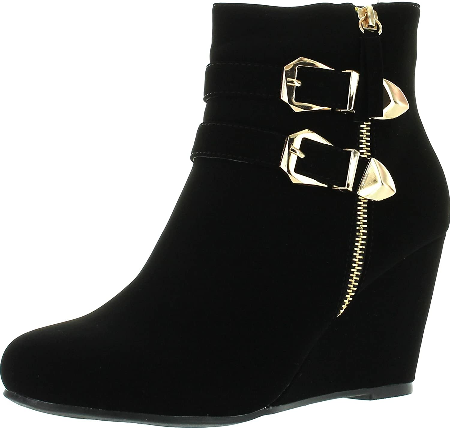 Forever Womens Double Ankle Straps Wedge Heel Ankle Booties