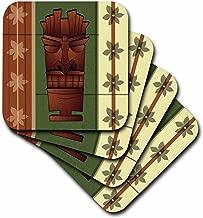 3dRose CST_77490_2 Wood Grain Tropical Tiki Mask-Hawaiian Flowers Green and Cream-Soft Coasters, Set of 8