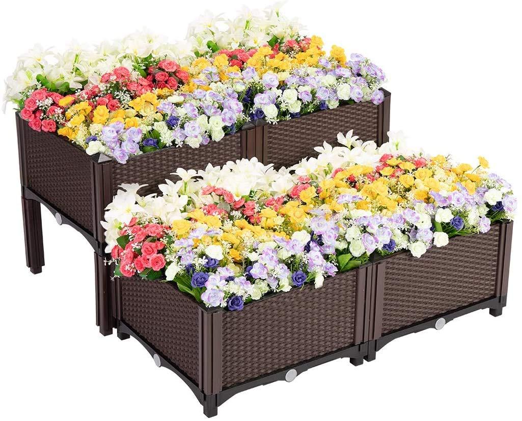Amazon Com Vivohome Elevated Plastic Raised Garden Bed Planter Kit For Flower Vegetable Grow Brown Set Of 4 Garden Outdoor