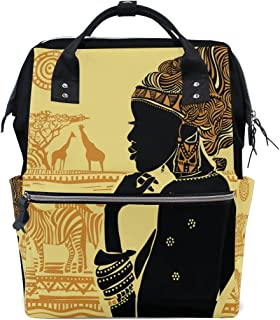 WOZO Silhouette of African Women Zebra Giraffe Multi-function Diaper Bags Backpack Travel Bag